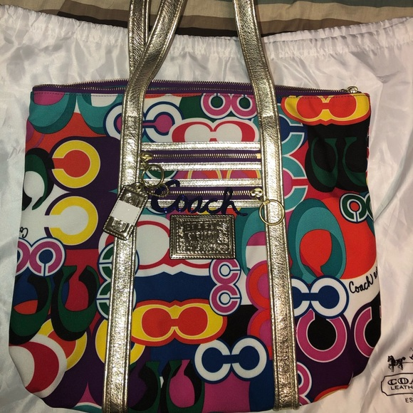 Coach Handbags - Coach Poppy Graffiti Tote w/Dust Bag